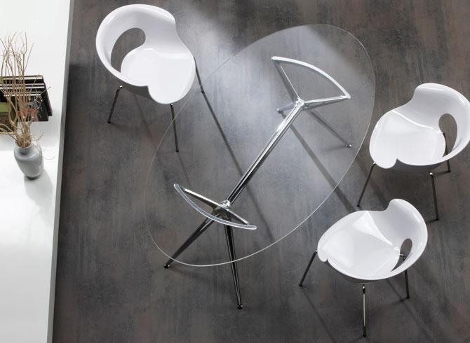 Tavolo Metropolis 150x112 ovale vetro trasparente Scab design ...
